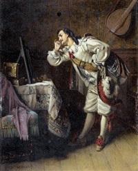 barockes interieur mit galantem herrn vor einem spiegel by eugène accard
