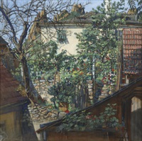 haus mit blumengarten - a flowering backyard (+ 2 others; 3 works) by joseph král