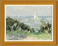 beach scenery with a boat by borge bokkenheuser
