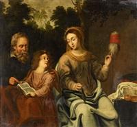 die heilige anna spinnend mit joseph, der maria lesen lehrt by anonymous-dutch (17)