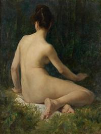 jeune fille nue de dos by henri (hirne) le riche