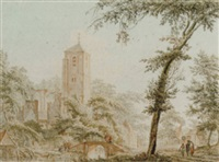 a ruined church in a village with figures by a bridge over a river by pieter jan van liender