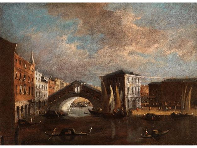 ansicht von venedig blick auf den canal grande mit der rialtobrücke und dem palazzo dei camerlenghi by francesco guardi