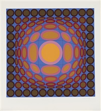composition orange et bleue by victor vasarely