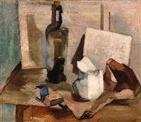 stilleben med flaske og mugge by aage storstein