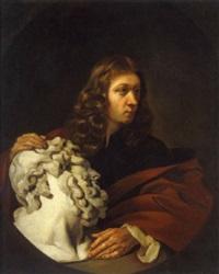 bildnis eines bildhauers oder sammlers mit dem steinernen kopf eines bärtigen mannes by daniel haringh