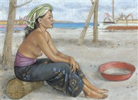 balinese woman on the beach by raka swasta