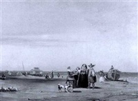 pilgrims arriving at shore by william m. laning