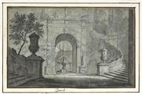 veduta di architettura con fontana nel giardino, interno di villa by jacques-louis david