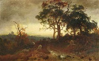 landschaft im abendlicht mit reitern und hünengrab by carl julius e. ludwig