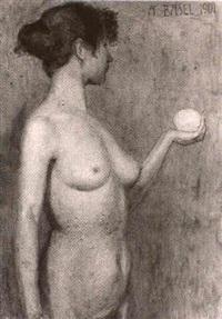 stehender weiblicher akt mit kugel by alfred basel