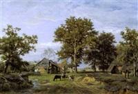 paysage arboré et animé d'une ferme et d'animaux by théodore fourmois