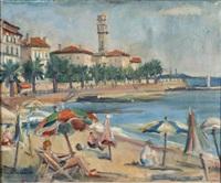 strand und uferpromenade einer stadt an der riviera by hans joachim muller