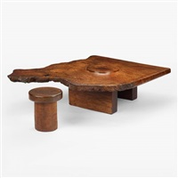 coffee table (+ stool; 2 works) by james blaine blunk