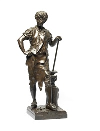 a patinated bronze figure of la travail by eutrope bouret