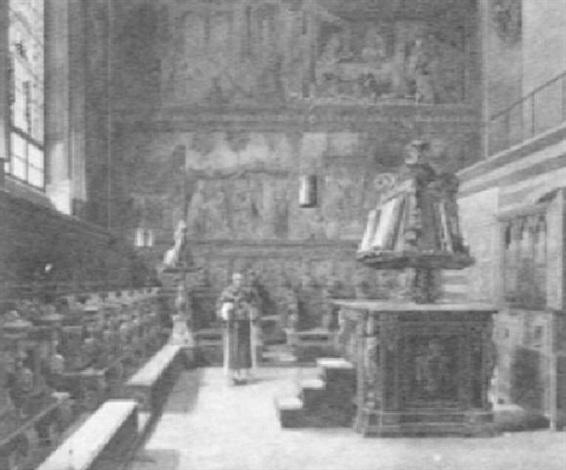priest in church interior by e torrini