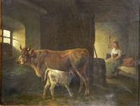 stall mit kuh und kalb by h. wolff