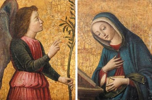 the archangel gabriel the virgin annunciate pair by filippo filippino lippi