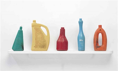 bottles on a shelf by tony cragg