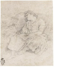 a study of a young woman sleeping, her head resting against a rock by cavaliere giovanni baglione