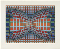 composition orange, verte et bleue by victor vasarely