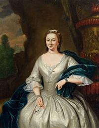bildnis einer dame in weißem kleid mit blauer stola, in einer grotte sitzend by tiebout regters