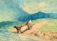 caravane au bord d'une rivière by lev felixovich lagorio