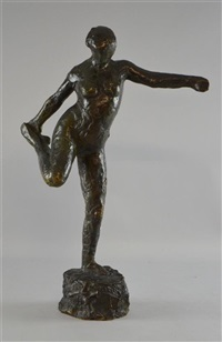 danseuse tenant son pied droit dans sa main droite, dancing holser her right food in her hand by edgar degas