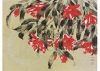 peacock and camellia by chinami nakajima