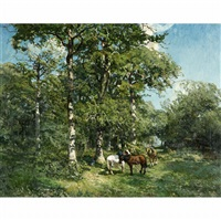 horses in the forest by godefroy de hagemann