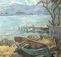 canoe by a dock by albert huie