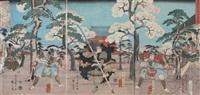 taira no kagekiyo at the todaiji temple by utagawa kuniyoshi and ando hiroshige