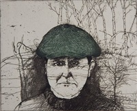 self-portrait with a flat cap by jim dine