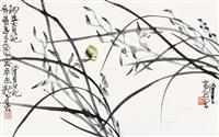 兰花蝴蝶 镜框 设色纸本 by chen peiqiu