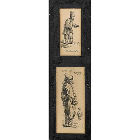 negress lygin down various beggars 2 works in 1 frame 3 works by rembrandt van rijn