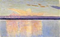 sunset over a river by vasili (vladimir) vasilievich perepletchikov