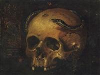 a vanitas still life with a skull, a snake and a clock by antonio de pereda y saldago