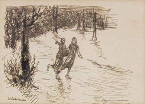 man feeding birds studies of two women talking ice skating 3 works various sizes by max liebermann