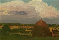 landscape with haystacks by leonard (leonid) viktorovich turzhansky