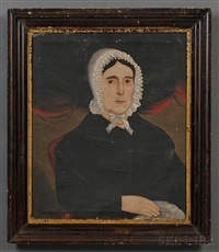 portrait of a woman wearing a white ruffled bonnet by william w. kennedy