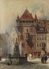 nürnberg - lorenzer platz mit tugendbrunnen by lorenz ritter