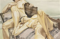 two models on victorian sofa with coverlet by philip pearlstein