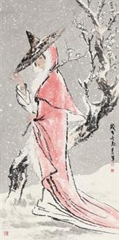 踏雪寻梅 镜心 设色纸本 (painted in 2012 beauty in the snow) by song yanjun