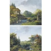views of parks near paris (pair) by antoine pierre mongin