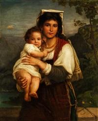 junge römerin mit kind - als madonna sistina by carl bertling