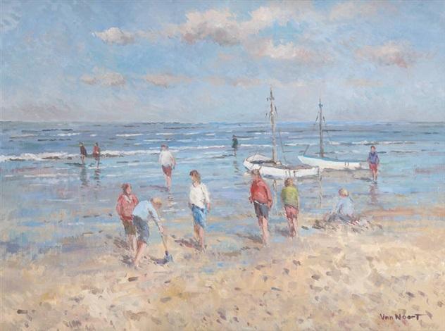 enfants jouant au bord de la mer by arie van noort