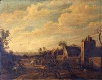 cavaliers devant les remparts d'une ville by joost cornelisz droochsloot