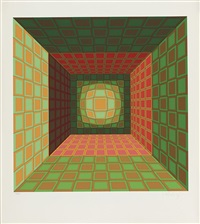 composition cubique verte by victor vasarely