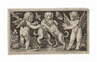 genii with animals (set of 6 works); two children attacked by lions by nicolaes de bruyn