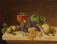 natura morta con calice di vino by f. müller